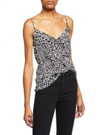 FRAME Printed Silk V-Neck Cami at Neiman Marcus