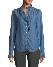 FRAME Ruffle Button-Front Denim Shirt at Neiman Marcus