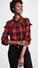 FRAME Ruffle Button Up Shirt at Shopbop
