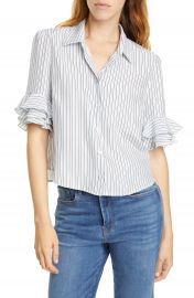 FRAME Ruffle Sleeve Silk Top   Nordstrom at Nordstrom
