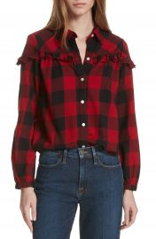 FRAME Ruffle Trim Buffalo Check Shirt at Nordstrom