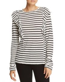 FRAME Ruffled Striped Linen Tee Women - Bloomingdale s at Bloomingdales