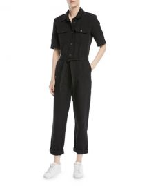 FRAME Short-Sleeve Button-Down Belted Straight-Leg Cotton-Linen at Neiman Marcus