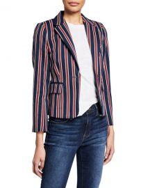 FRAME Shrunken Striped Cotton Single-Button Blazer at Neiman Marcus