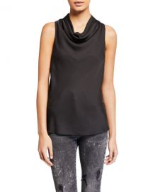 FRAME Sleeveless Cowl-Neck Silk Top at Neiman Marcus