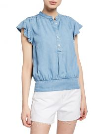 FRAME Smocked Flounce Button-Front Popover Blouse at Neiman Marcus