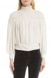 FRAME Smocked Tie Back Blouse   Nordstrom at Nordstrom