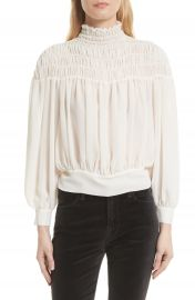 FRAME Smocked Tie Back Blouse at Nordstrom