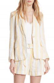 FRAME Stripe Linen Blazer at Nordstrom