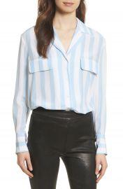 FRAME Stripe Pocket Silk Blouse at Nordstrom
