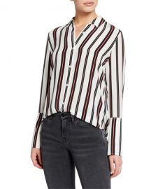 FRAME Striped Button-Front Cuffed Silk Blouse at Neiman Marcus