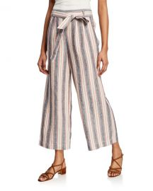 FRAME Striped Clean Linen Pants at Neiman Marcus