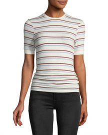 FRAME Striped Short-Sleeve Ribbed Tee at Neiman Marcus