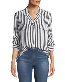 FRAME Striped Silk Button-Front Long-Sleeve Top at Neiman Marcus