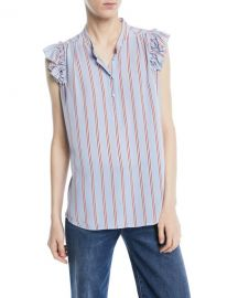 FRAME Striped Sleeveless Ruffle Button-Front Top at Neiman Marcus