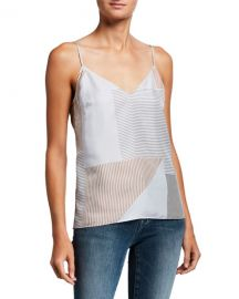 FRAME Striped V-Neck Silk Cami at Neiman Marcus