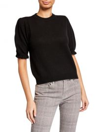 FRAME Sustainable Cashmere Shirred Short-Sleeve Sweater at Neiman Marcus