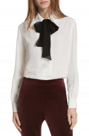 FRAME Tie Neck Silk Blouse at Nordstrom