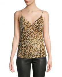 FRAME V-Neck Cheetah-Print Silk Cami Top at Neiman Marcus