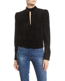 FRAME Velvet High-Neck Striped Long-Sleeve Party Top at Neiman Marcus