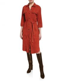 FRAMEBelted Suede Military Shirt Dress at Neiman Marcus