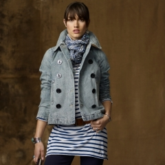 Faded denim pea coat at Ralph Lauren