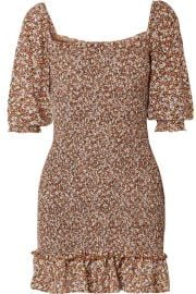 Faithfull The Brand - Es Saada smocked ruffled printed crepe mini dress at Net A Porter