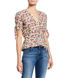 Faithfull the Brand Lucy Floral Print Short-Sleeve Wrap Top at Neiman Marcus