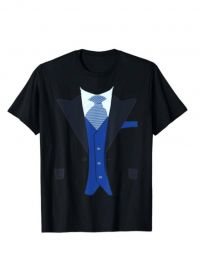 Fake Tuxedo Suit Top with Vest and Tie T-Shirt by Tux Tees at Amazon at Amazon