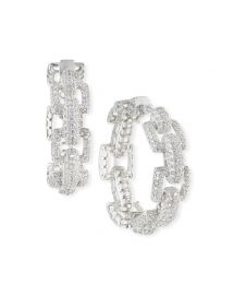 Fallon Square-Link Pave Hoop Earrings at Neiman Marcus