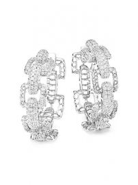 Fallon - Rhodium Plated Cubic Zirconia Link Hoop Earrings at Saks Fifth Avenue