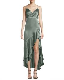 Fame and Partners Bristol Satin Slip Dress w  Asymmetric Hem at Neiman Marcus