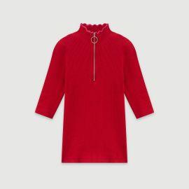 Fancy and Zipped Light Polo Sweater by Maje at Maje