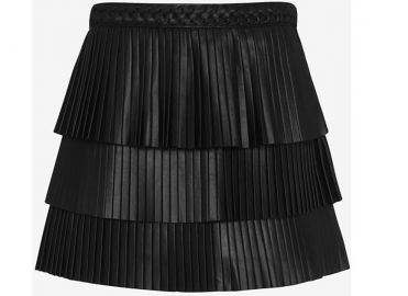 Farrah Pleated Leather Skirt by Intermix at Intermix