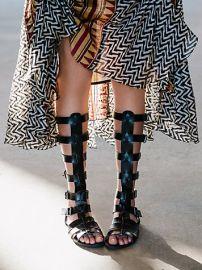 Faryl Robin and Free People  Republik Vegan Gladiator Sandals in Black at Free People