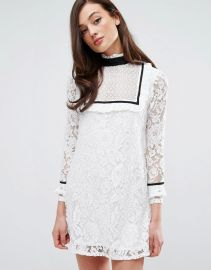 Fashion Union Bib Front Dress With Contrast Trim at Asos