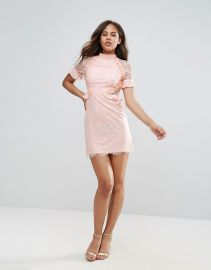 Fashion Union Tall High Neck Dress With Ruffle Detail In Lace at Asos