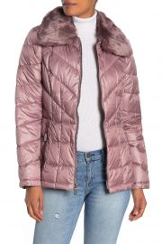 Faux Fur Collar Zip Front Puffer Jacket by Kenneth Cole New York  at Nordstrom Rack