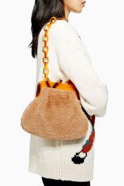 Faux Fur Frame Tortoiseshell shoulder bag at Topshop