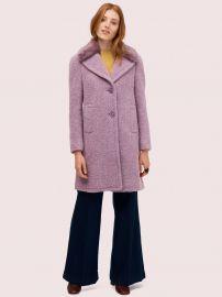 Faux Fur Lapel Coat in Purple Shade at Kate Spade