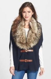 Faux Fur Trim Buckle Poncho at Nordstrom