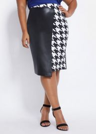 Faux Leather & Houndstooth Skirt by Ashley Stewart at Ashley Stewart