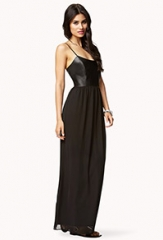 Faux Leather Chiffon Dress at Forever 21