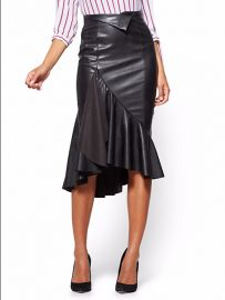 Faux-Leather Flounced Skirt by New York Company at NY&C