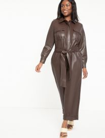 Faux Leather Jumpsuit With Button Front by Eloquii at Eloquii