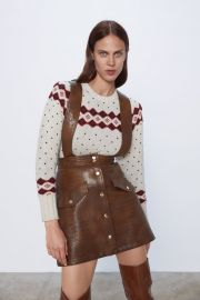 Faux Leather Mini Skirt with Suspenders by Zara at Zara