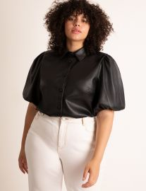 Faux Leather Puff Sleeve Top at Eloquii