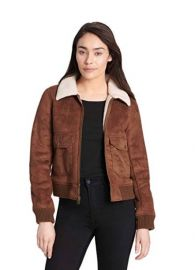 Faux Leather Sherpa Aviator Bomber Jacket by Levis at Amazon