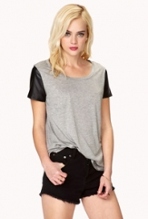 Faux Leather Sleeve Tee at Forever 21
