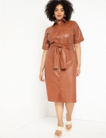 Faux Leather Trench Dres at Eloquii